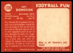 1958 Topps #106  Art Donovan  Back Thumbnail