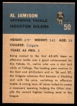 1962 Fleer #50  Al Jamison  Back Thumbnail
