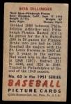 1951 Bowman #63  Bob Dillinger  Back Thumbnail