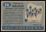 1955 Topps #20  Sammy Baugh  Back Thumbnail