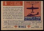 1952 Topps Wings #6   AT-7 Navigator Back Thumbnail