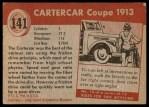 1954 Topps World on Wheels #141   Cartercar Three Passenger Back Thumbnail