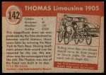 1954 Topps World on Wheels #142   Thomas Limousine 1905 Back Thumbnail