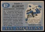 1955 Topps #67  Frankie Albert  Back Thumbnail