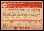 1952 Topps #156 CRM Frank Hiller  Back Thumbnail