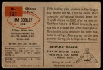 1954 Bowman #121  Jim Dooley  Back Thumbnail