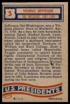 1956 Topps U.S. Presidents #5  Thomas Jefferson  Back Thumbnail