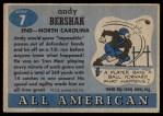 1955 Topps #7  Andy Bershak  Back Thumbnail