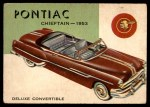1954 Topps World on Wheels #83   Pontiac Chieftain Convertible 1953 Front Thumbnail
