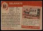 1954 Topps World on Wheels #67   Delahaye Back Thumbnail