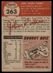 1953 Topps #263  Johnny Podres  Back Thumbnail