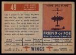1952 Topps Wings #49   JRM Mars Back Thumbnail