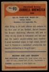 1955 Bowman #93  Darrell Brewster  Back Thumbnail