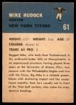 1962 Fleer #61  Mike Hudock  Back Thumbnail