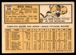1963 Topps #526  Dick Hall  Back Thumbnail