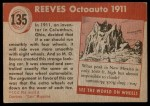 1954 Topps World on Wheels #135   Reeves Octoauto 1911 Back Thumbnail