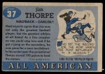 1955 Topps #37  Jim Thorpe  Back Thumbnail