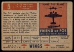 1952 Topps Wings #5   F-51 Mustang Back Thumbnail