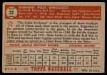 1952 Topps #22  Dom DiMaggio  Back Thumbnail