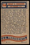 1956 Topps U.S. Presidents #36  Dwight D.Eisenhower  Back Thumbnail