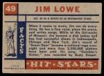 1957 Topps Hit Stars #49  Jim Lowe  Back Thumbnail