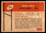 1960 Fleer #111  Bob Dee  Back Thumbnail