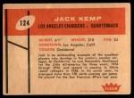 1960 Fleer #124  Jack Kemp  Back Thumbnail