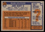 1976 Topps #120  Jake Scott  Back Thumbnail