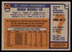 1976 Topps #90  Roger Wehrli  Back Thumbnail