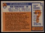 1976 Topps #26  Ron Yankowski  Back Thumbnail
