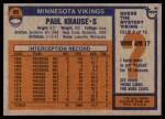 1976 Topps #65  Paul Krause  Back Thumbnail