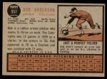 1962 Topps #557  Bob Anderson  Back Thumbnail