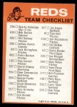 1973 Topps Blue Checklist   Reds Back Thumbnail