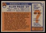 1976 Topps #150  Alan Page  Back Thumbnail