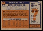1976 Topps #70  Lydell Mitchell  Back Thumbnail