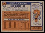 1976 Topps #96  Ken Geddes   Back Thumbnail