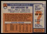 1976 Topps #10  Ken Anderson  Back Thumbnail