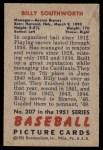1951 Bowman #207  Billy Southworth  Back Thumbnail