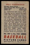 1951 Bowman #207  Billy Southworth  Back Thumbnail