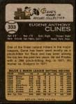 1973 Topps #333  Gene Clines  Back Thumbnail