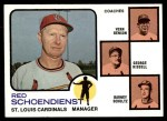 1973 Topps #497 BRN  -  Red Schoendienst / Vern Benson / George Kissell / Barney Schultz Cardinals Leaders Front Thumbnail