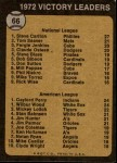 1973 Topps #66   -  Steve Carlton / Gaylord Perry / Wilbur Wood Victory Leaders Back Thumbnail