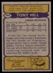 1979 Topps #182  Tony Hill  Back Thumbnail