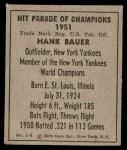 1951 Berk Ross #4 A Hank Bauer  Back Thumbnail