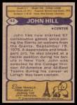 1979 Topps #43  John Hill  Back Thumbnail