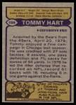 1979 Topps #199  Tommy Hart  Back Thumbnail