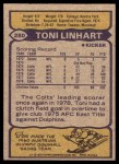 1979 Topps #280  Toni Linhart  Back Thumbnail