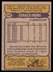 1979 Topps #288  Gerald Irons  Back Thumbnail