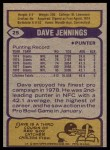 1979 Topps #25  Dave Jennings  Back Thumbnail