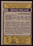 1979 Topps #53  Mark Miller  Back Thumbnail